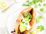 Loaded Sweet Potato With Spicy Black Beans and Cashew-Lime Cream {vegan, gluten-free}