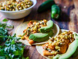 Mexican Street Corn and Roasted Sweet Potato Tacos {vegetarian}