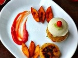 Combo platter with Tikki / patties 1 - South Indian Idli burger with Upma cutlet and Idli french fries