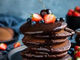 Fluffy Vegan Chocolate Pancakes With Chocolate Sauce