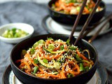 Spiralized Vegetable Noodle Bowls With Peanut Sauce & An oxo Spiralizer Giveaway