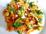 Satay broccoli with carrodles (carrot noodles)