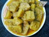 Healthy Veg. Side Dish Recipe  -  Raw Banana (Kacha Kola) Curry