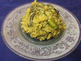 Mashed Taro Stem With Hilsha Fish Head/Kochu Shak With Hilsa Fish Head