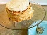 Pancake cake with maple cream cheese frosting