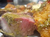 Lamb with Salsa Verde Sauce and Chilli Cheese Potato Croquettes