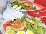 Crab Cakes with Spring Greens, Egg and Avocado