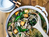 Sesame Soba Noodle Soup with Shiitakes, Snap peas and Tofu