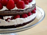 Chocolate Cake with Raspberries and Brown Sugar Creamcheese Frosting