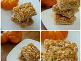 Pumpkin Spice Rice Krispie Treats with Caramel Drizzle