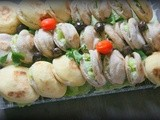 Appetizers: Stuffed mini-batbout with tuna and cream cheese dip