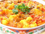 Cooked Moroccan potato, pepper and tomato salad