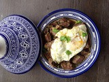 Moroccan tagine of kabab maghdour - Betrayed kebab with fried or poached eggs