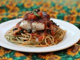 Parma-wrapped Fish with Mediterranean Sauce #FishFridayFoodies