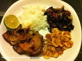 Sticky lime and chilli pork with rice & black beans & plantain chips