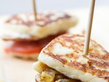Mini Inside Out Grilled Cheese w/ bbq Chicken, Bacon Fried Onions & Roasted Corn