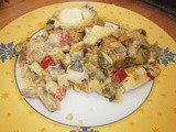 Crumble with Mediterranean vegetables and goat's cheese (aubergine, courgette, bell pepper, tomato)