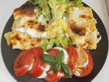 Polenta gratin and tomato-mozzarella salad