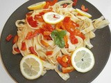 Tagliatelle pasta with bell pepper and tapenade