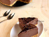 Chocolate Peanut Butter Cheesecake - No Bake and Eggless