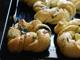 Twisted Knotted Mint Garlic Rolls – #BreadBakers