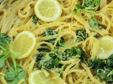 Linguine with ricotta, lemon and lambs lettuce