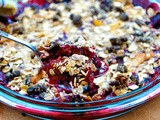 Plum and Blackberry Muesli Crumble with Blackberry Sorbet