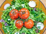 Salata de vara cu rosii cherrry coapte | Summer Veggie Salad with Roasted Cherry Tomatoes