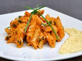 Spicy Carrot Penne Pasta with Mustard and Parsnip Sauce | Paste cremoase cu morcovi si sos de pastarnac si mustar
