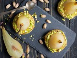 White Wine Poached Pears with Vanilla-Pistachio Blondie