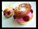 Almond Cream Puff with Raspberries Cream