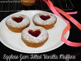 Eggless Jam Filled Vanilla Muffins ~ Red Jam Hearts ︎