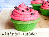 Watermelon Cupcakes (Vanilla Cupcakes with Vanilla Buttercream)