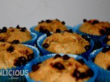 Eggless Whole Wheat Banana Muffins [With Choco Chips]