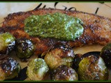 Chicken fried in avocado oil & topped with pesto served with roasted brussel sprouts