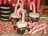 Chocolate dipped marshmallows with crushed candy canes & candy cane oreos