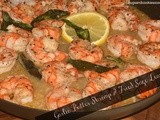 Garlic Butter Shrimp Topped With Fried Sage Leaves