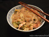 Korean Style Sweet Potato Noodles with chicken and vegetables (Paleo, Gluten Free)