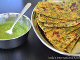 Methi Aloo Paratha with south indian flavors (Potato and Fenugreek leaves stuffed flatbread)