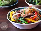 Korean Vegetable Japchae (Stir Fry Sweet Potato Noodle)