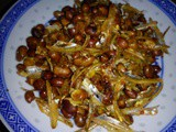 Healthy crispy anchovies with peanuts