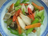 Stir fry celery with mushrooms