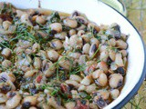 Black eyed beans with spinach and fennel