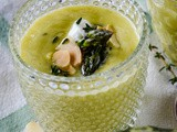 Chilled Cream Of Asparagus Soup with Almonds and Thyme