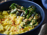 Curried cauliflower potato and kale soup