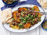 Crispy Lebanese lamb and chickpeas with pumpkin hummus recipe