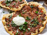 Crispy turkish lamb pizzas recipe