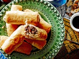 Filo pastries filled with spiced mince and pine nuts (znoud el-sit) recipe