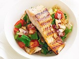 Grilled salmon with fattoush recipe