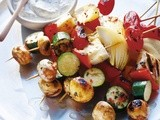 Haloumi kebabs with feta and herb dip recipe